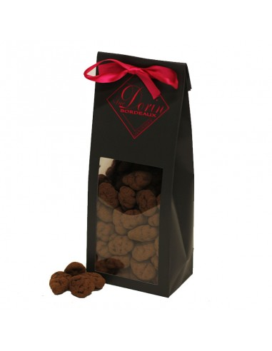 Amandes caramélisées enrobées de chocolat noir 70%